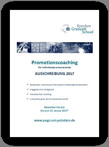 Ausschreibung des Promotionscoachings als PDF-Datei zum Herunterladen